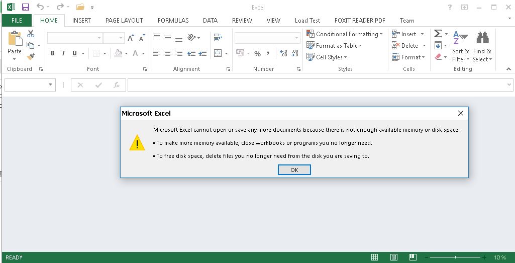 Giải quyết nhanh lỗi Microsoft Excel Cannot Open Or Save Any More Documents Because There Is Not Enough Available